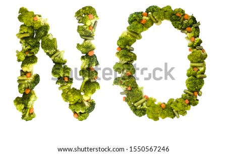 NO. Healthy lifestyle and nutrition. English alphabet. Text from the products. Broccoli, asparagus, carrots. Designer font. Vegetable Font. #1550567246