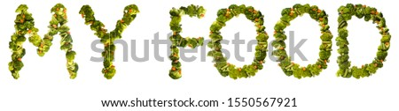 My food. Healthy lifestyle and nutrition. English alphabet. Text from the products. Broccoli, asparagus, carrots. Designer font. Vegetable Font. #1550567921