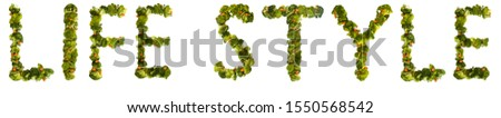 Life style. Healthy lifestyle and nutrition. English alphabet. Text from the products. Broccoli, asparagus, carrots. Designer font. Vegetable Font. #1550568542
