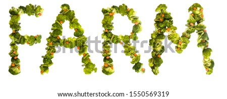Farm. Healthy lifestyle and nutrition. English alphabet. Text from the products. Broccoli, asparagus, carrots. Designer font. Vegetable Font. #1550569319