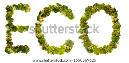 Eco. Healthy lifestyle and nutrition. English alphabet. Text from the products. Broccoli, asparagus, carrots. Designer font. Vegetable Font. #1550569625