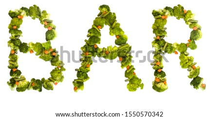 Bar. Healthy lifestyle and nutrition. English alphabet. Text from the products. Broccoli, asparagus, carrots. Designer font. Vegetable Font. #1550570342