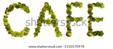 Cafe. Healthy lifestyle and nutrition. English alphabet. Text from the products. Broccoli, asparagus, carrots. Designer font. Vegetable Font. #1550570978