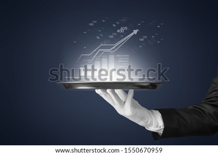 Close up of hand in white glove open red velvet curtain to infographs          - Image #1550670959