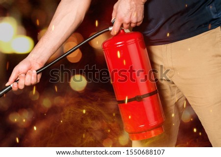 Hand presses the trigger fire extinguisher hand presses the trigger fire extinguisher #1550688107