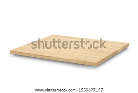 Empty light wooden shelves or counter top isolated on white background with clipping path. Highly detailed resolution on top view for any design. Use as products display montage.Vintage style concept. #1550697137