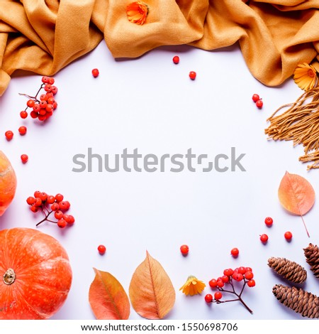 Autumn composition with yellow scarf or blanket, leaves, red berries on pastel background, flat lay. Autumn, fall, halloween, thanksgiving day concept. Flat lay, top view, copy space #1550698706