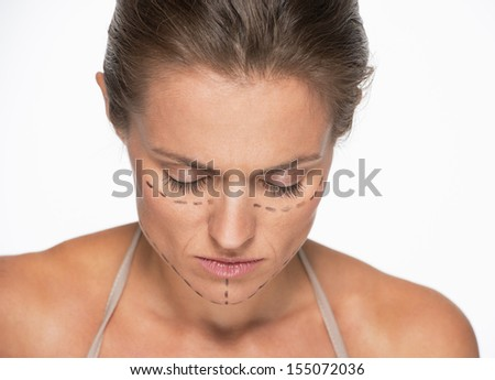 Frustrated woman with plastic surgery marks on face #155072036