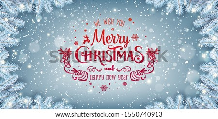 Red Christmas and New Year Text on blue Xmas background with snow fir branches, snowflakes, light, stars. Merry Christmas card. Vector Illustration #1550740913
