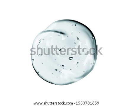 Gel texture. Clear cosmetic liquid serum drop isolated on white background. Transparent skincare product with bubbles sample #1550781659