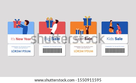 Set of coupon promotion sale for website, internet ads, social media or coupon. Big sale and super sale coupon discount. Coupon discount with vector illustration #1550911595