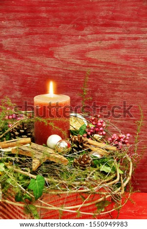 Christmas background with candle, upright format #1550949983