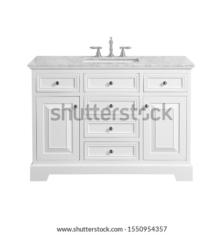 White Classic Wooden Bathroom Vanity Isolated on White. Luxury Contemporary Vanity Cabinet with Ceramic Countertop Sink and Silver Faucet. Bathroom Furniture. Cabinet and Drawers for the Essentials