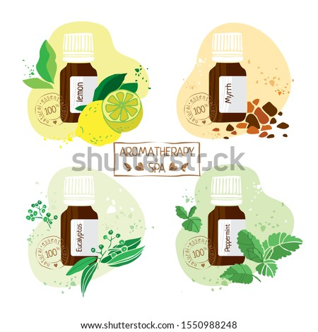 Set with essential oils of lemon, myrrh, eucalyptos and pepermint hand drawn. Aromatherapy and Spa stamp for alternative medicine. Labels on products. Cute cartoon vector illustration #1550988248