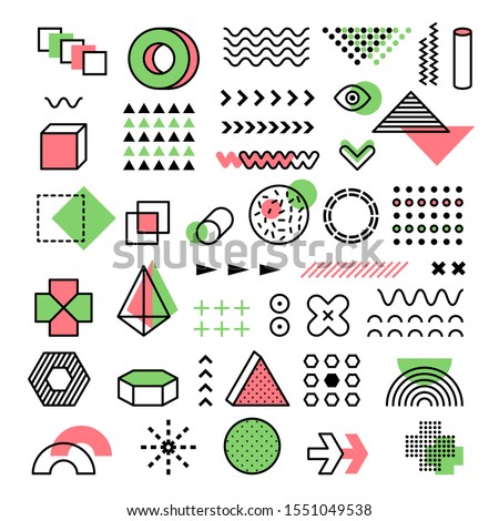 Memphis graphic. 90s fashion geometrical lines dots modern shapes triangles vector funkie memphis forms #1551049538