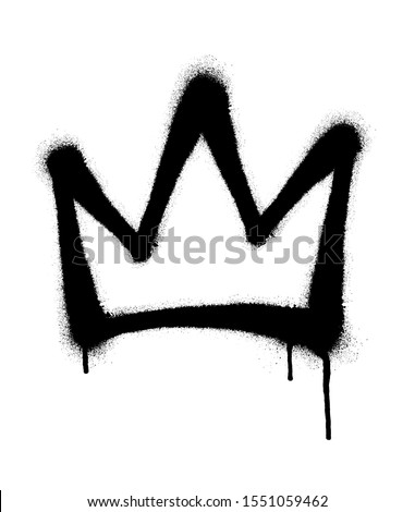 Sprayed crown with overspray in black over white. Vector illustration.
