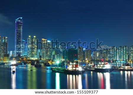 Hong Kong city at night #155109377