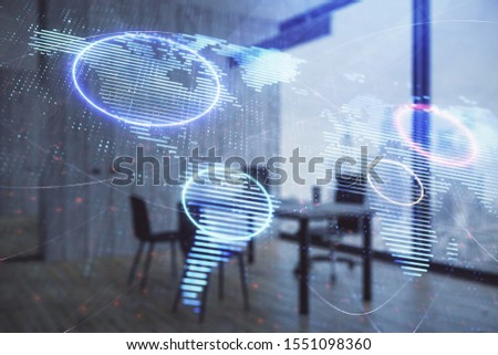World map hologram and minimalistic cabinet interior background. Double exposure. International business concept. #1551098360