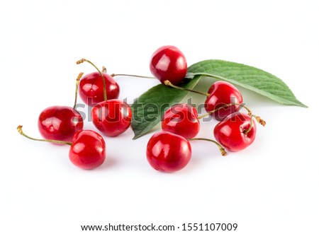 Cherries with leaves isolated on white background #1551107009