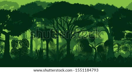 Vector horizontal seamless tropical rainforest Jungle forest background  Royalty-Free Stock Photo #1551184793