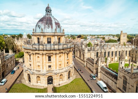 OXFORD, UNITED KINGDOM - AUG 29, 2019 - Elevated view of Radcliffe Camera and surrounding buildings, Oxford, Oxfordshire, England, United Kingdom. #1551224951