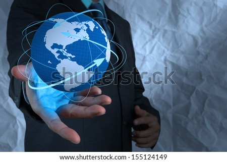 businessman  show social network structure with crumpled recycle paper background as concept #155124149