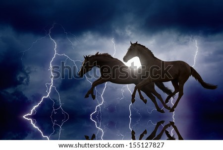 Two running horses, lightnings in dark stormy sky, picture for chinese year of horse 2014