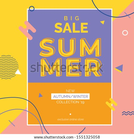 Unique artistic summer cards with bright gradient background,shapes and geometric elements in memphis style.Abstract design cards perfect for prints,flyers,banners,invitations,special offer and more. #1551325058