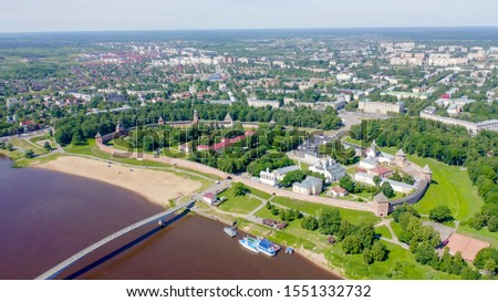 Veliky Novgorod, Russia. Novgorod Kremlin (Detinets), Volkhov River. Flight over the city, From Drone   #1551332732