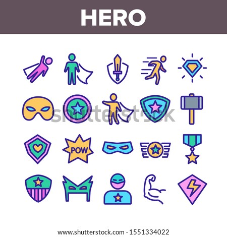 Super Hero Collection Elements Icons Set Vector Thin Line. Hero Superman Silhouette And Captain America, Face Mask And Shield Concept Linear Pictograms. Color Contour Illustrations