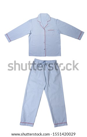 Set of pajamas for sleeping. Classic textile stripes, blue. Good morning sleepy dress, stay in bed. Flannel pajamas on a white background #1551420029