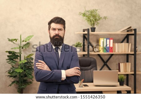 Hiring concept. Recruitment department. Job interview. Welcome team member. Recruiter professional occupation. HR manager. Man bearded manager recruiter in office. Recruiter career. Human resources. #1551426350