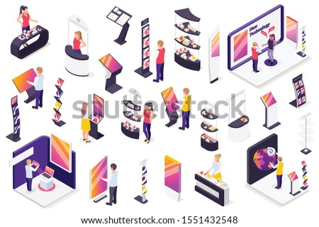 Modern technology exhibition isometric elements set with autonomous robots virtual reality control gadgets promotion stands vector illustration  Royalty-Free Stock Photo #1551432548