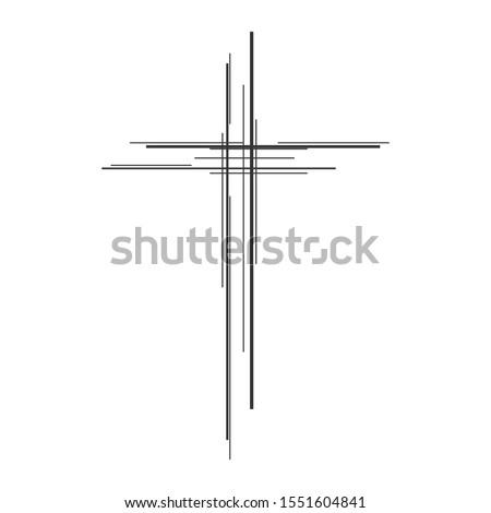 Christian Cross icon. Church cross isolated. Black religion vector symbol