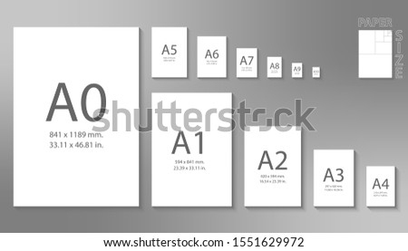 Paper sizes A0 to A10 format isolated on grey background.