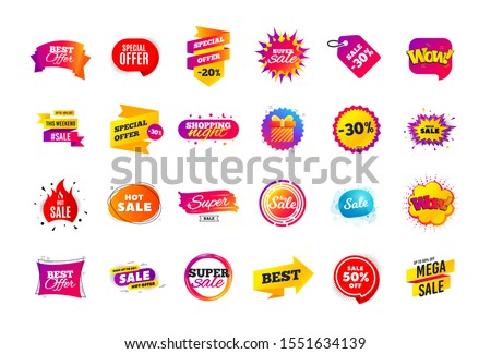 Sale banner badge. Special offer discount tags. Coupon shape templates design. Cyber monday sale discounts. Black friday shopping icons. Best ultimate offer badge. Super discount icons. Vector banners #1551634139