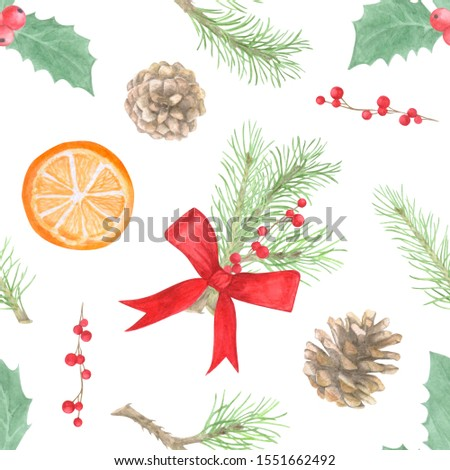 Christmas and new year seamless pattern of gift box, berries, mandarin and stars on white background. Watercolor hand drawn illustration. #1551662492