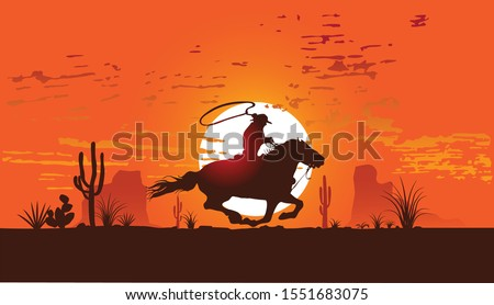vector image of a cowboy on a horse galloping across the desert at sunse