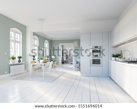 3D-Illustration. loft apartment with living room and kitchen. #1551696014