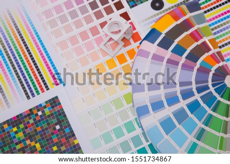 Press color management. Cmyk stripe loupe and color palettes. Commercial printing. #1551734867