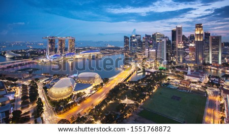 Singapore skyline at the Marina during twilight. #1551768872