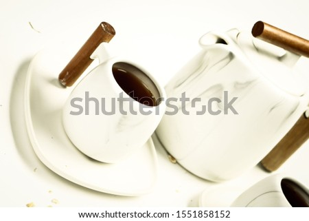 Delicious hot coffee cup on table #1551858152