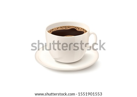 Cup of Fresh Coffee. Vector Illustration. Realistic Style. Decorative Design for Cafeteria, Posters, Banners, Cards #1551901553