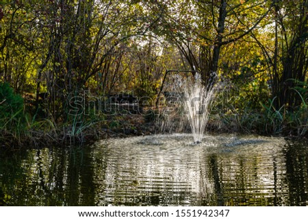 Magic pond with cascading fountain on emerald surface of water on blurry background of evergreens. Selective focus. Autumn landscape in evergreen garden. Nature concept for design. #1551942347