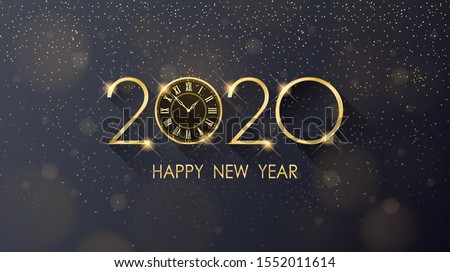 golden Happy new year 2020 and clock with glitter on black color background #1552011614