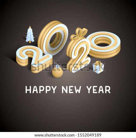 Happy New 2020 Year. Holiday vector illustration of golden metallic numbers 2020. Realistic 3d sign. Festive poster or banner design #1552049189
