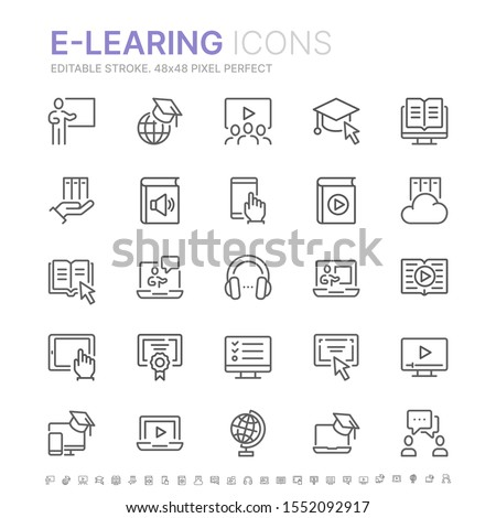 Collection of e-learning related line icons. 48x48 Pixel Perfect. Editable stroke Royalty-Free Stock Photo #1552092917