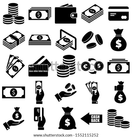 Money and payment icons, logo isolated on white background #1552115252