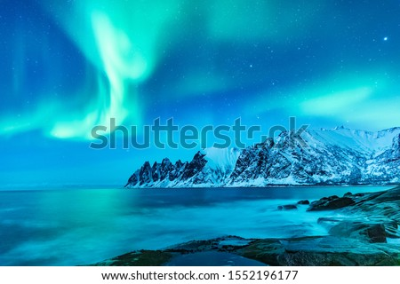 Vivid Northern lights during polar night on Lofoten Islands in Norway. Epic scene of dancing aurora borealis in the night sky over jagged mountain ridge and Arctic ocean on island Senja, polar circle. Royalty-Free Stock Photo #1552196177