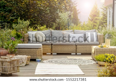 Cozy modern designed lounge outside big villa #1552217381